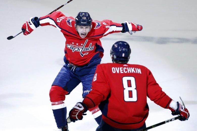 File In This May 5 2018 File Photo Washington Capitals Left Wing Jakub Vrana 13 From The Czech Republic Jumps Into The Arms Of Left Wing Alex