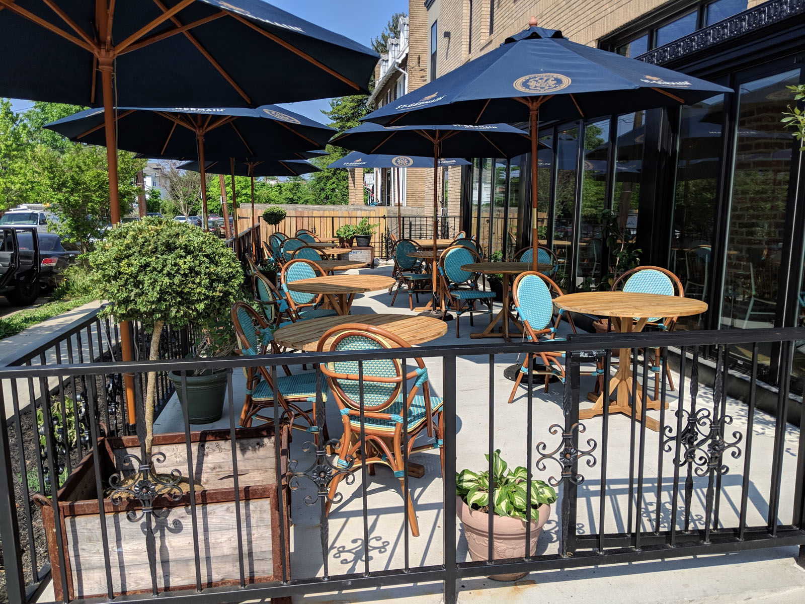 Primrose just opened its sunny patio where dinner, weekend lunch, or drinks can all be enjoyed.  The wine list — created by owner and DC Somm to the stars, Sebastian Zutant —  features hand-selected wines from France as well as Virginia, Sebastian currently makes his own wine with Early Mountain Vineyards, and offers 75 wines by the bottle and more than 15 wines by the glass. (Courtesy Primrose)