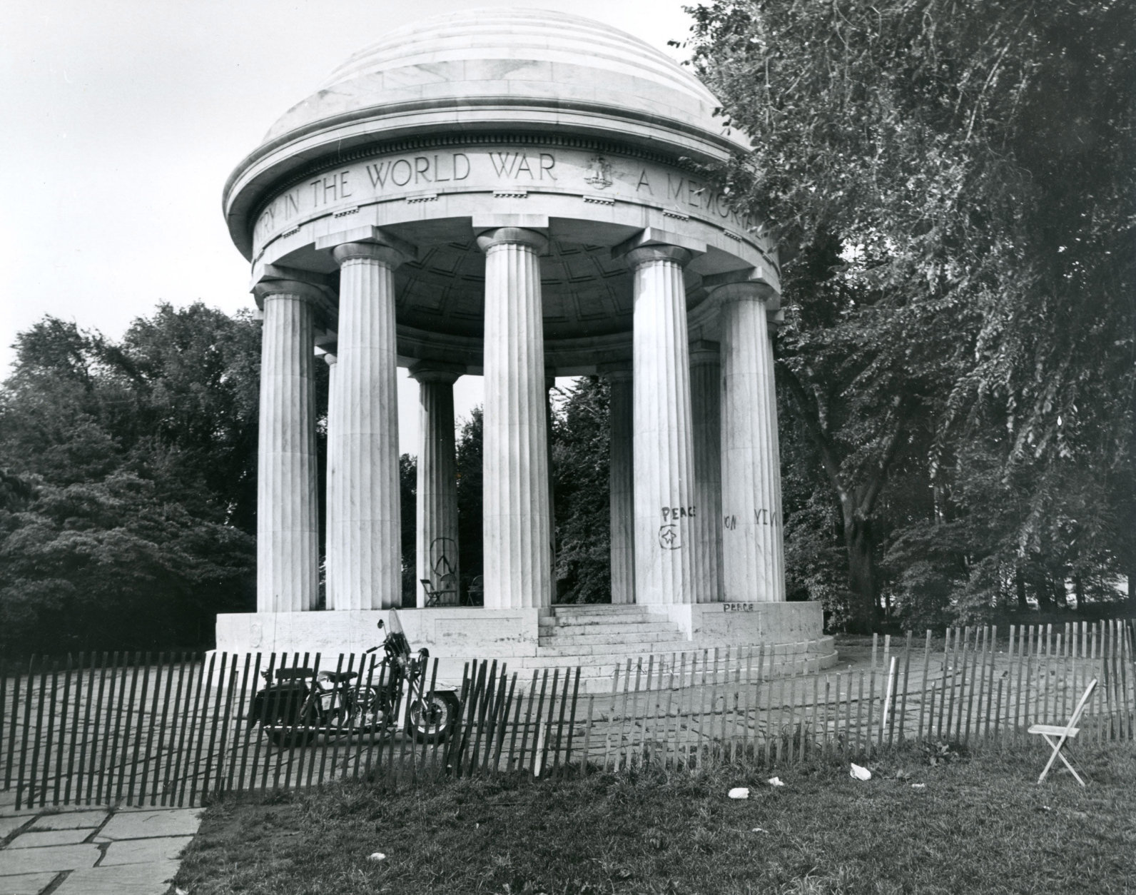 The World War I Memorial suffered damage during the Resurrection City encampment, the National Park Service said. (NPS/Museum Resource Center)