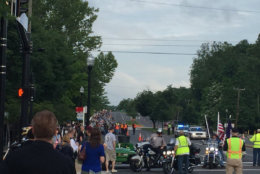 A view from Route 50 in Fairfax as thousands of bikers prepare to head out to the Pentagon to join Rolling Thunder. (WTOP/John Domen)