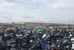 "Thousands of motorcycles in front of the Pentagon waiting for the start of the 31st Rolling Thunder Ride for Freedom. ""This is beyond belief,"" said one veteran in from Rhode Island. (WTOP/Melissa Howell)"