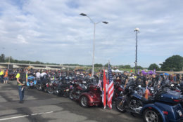 """All the people here are vets or honor vets,"" said Ken Rudder, a Navy veteran from Rhode Island taking part in his first Rolling Thunder ride. (WTOP/Melissa Howell)"