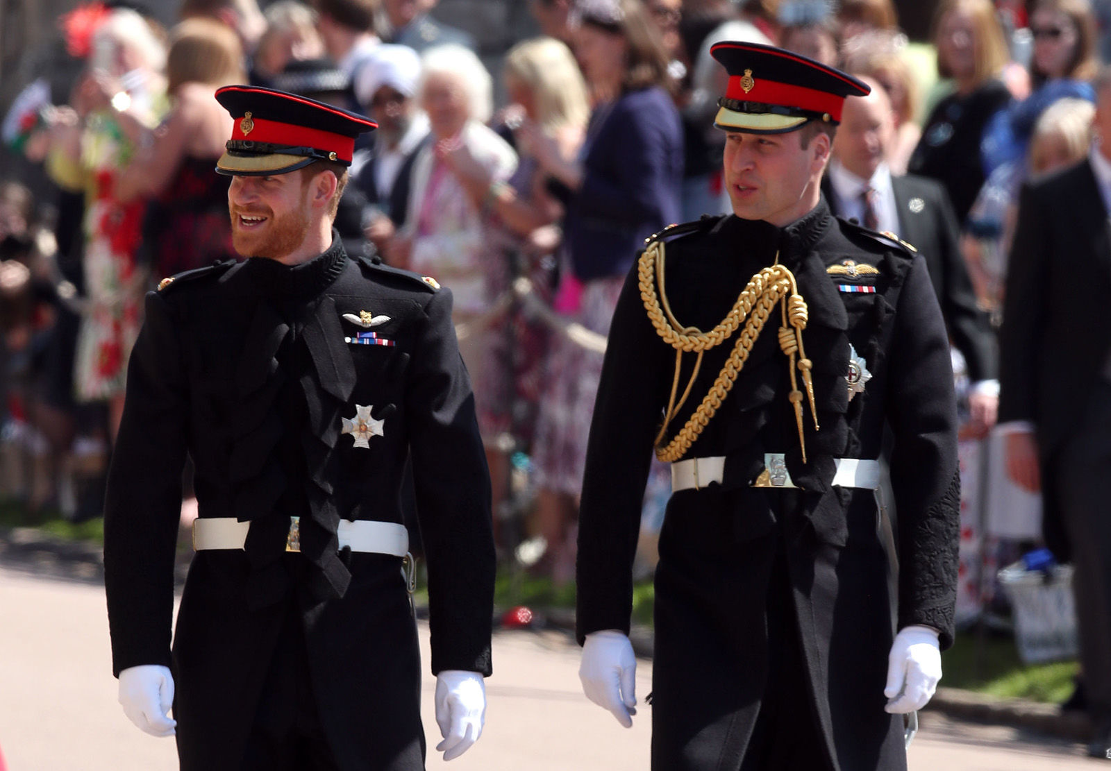 Prince Harry walks with his best man, Prince William, Duke of Cambridge as they arrive at St George's Chapel at Windsor Castle before the wedding of Prince Harry to Meghan Markle on May 19, 2018 in Windsor, England. (Photo by Chris Radburn - WPA Pool/Getty Images)