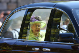 Queen Elizabeth II arrives at St George's Chapel at Windsor Castle before the wedding of Prince Harry to Meghan Markle on May 19, 2018 in Windsor, England. (Photo by Gareth Fuller - WPA Pool/Getty Images)