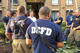 """D.C. firefighters take part in a """"hot wash"""" critique to learn lessons at the fire on Gainesville Street, SE. (Courtesy DC Fire and EMS)"""