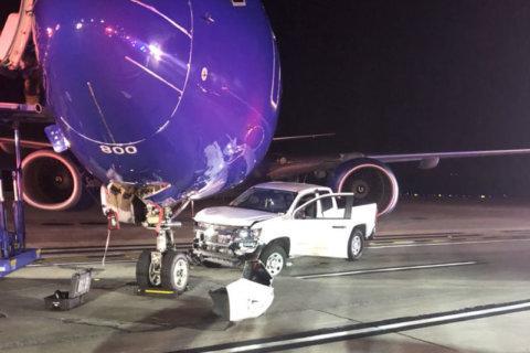 Pickup truck, plane crash at BWI