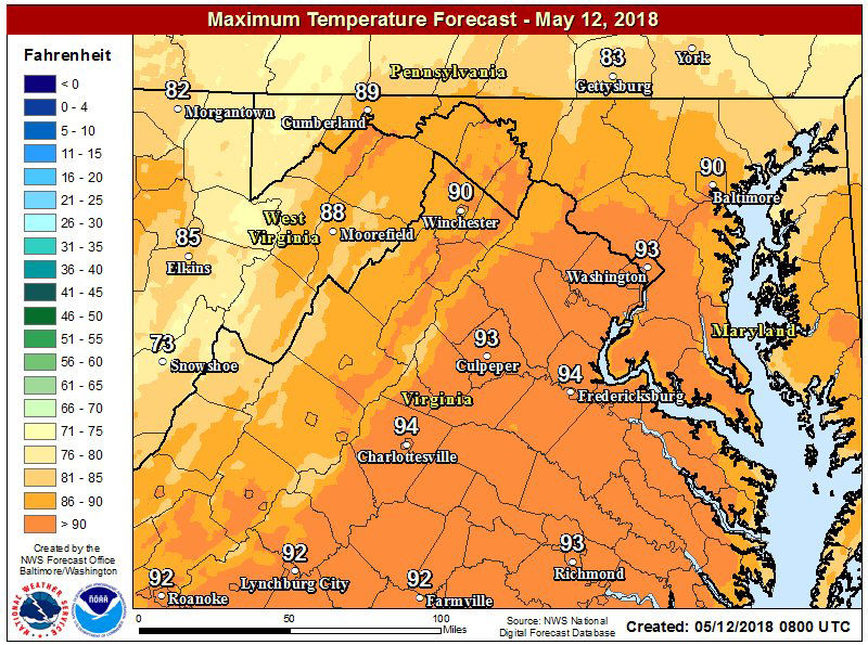 Temperatures will reach the upper 80s to mid 90s by 3 p.m. on Saturday afternoon, which could set some records in the D.C. area. (Courtesy National Weather Service)