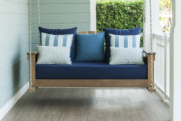 vintage swing and blue pillow