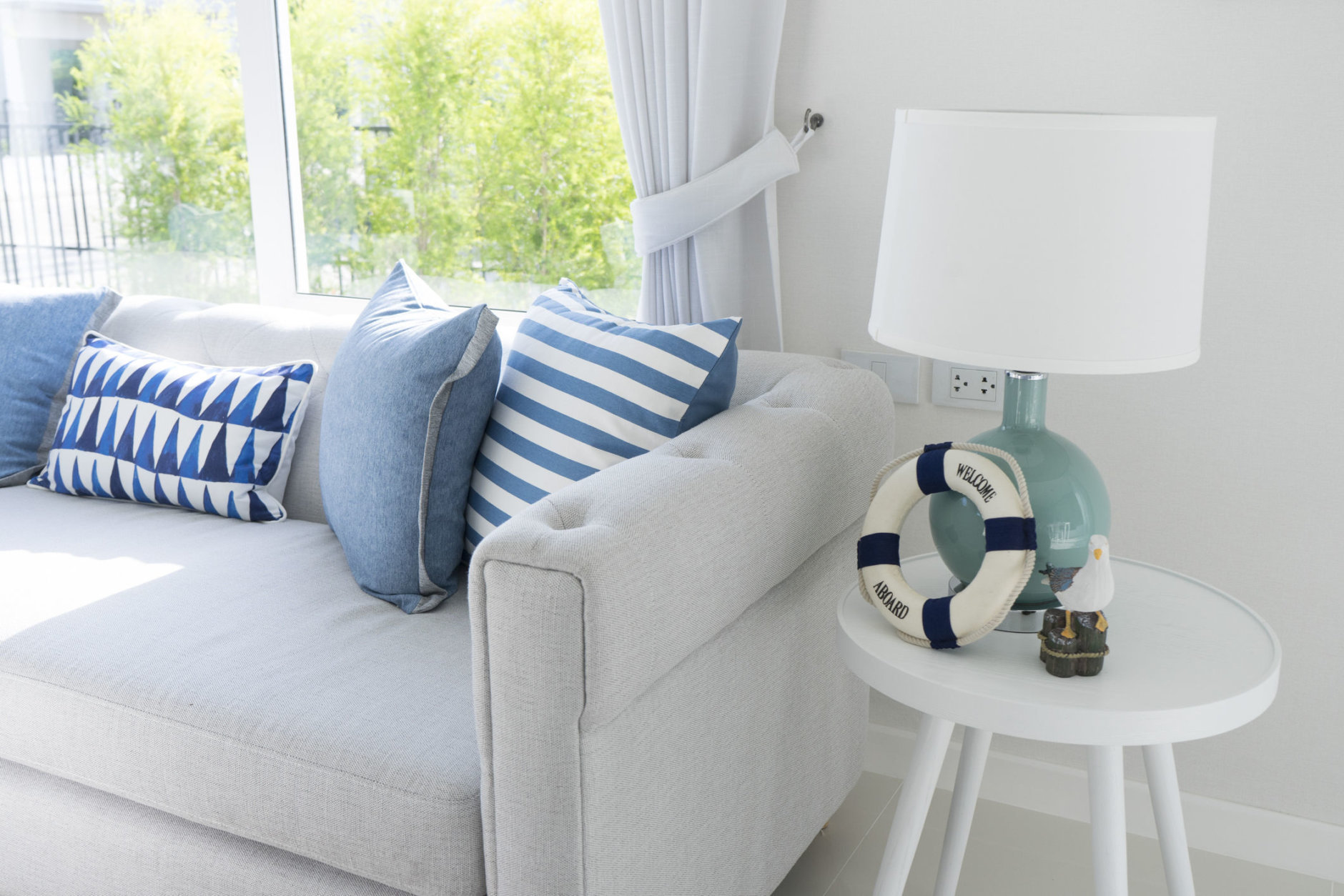 table lamp in blue tone beach house living room interior