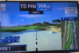 The Virtual Golf setting allows you to play your way through an actual course with every shot. (WTOP/Noah Frank)