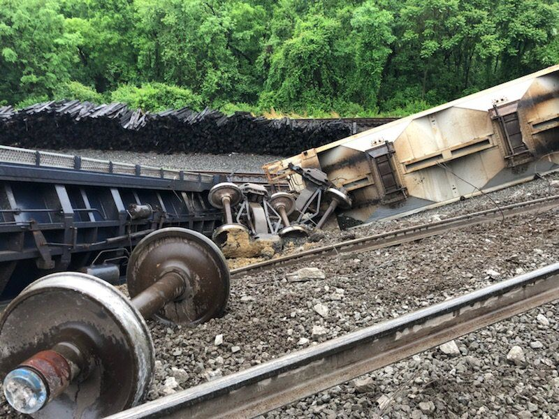 Thirty train cars out of 167 total came off the tracks shortly after 7 a.m. in the Eisenhower corridor. (Courtesy Alexandria Fire and EMS)