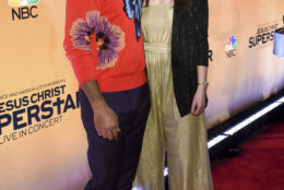 Actors Brandon Victor Dixon, left, and Sara Bareilles participate in NBC's Jesus Christ Superstar Live in Concert press junket at the Church of St. Paul the Apostle on Tuesday, Feb. 27, 2018, in New York. (Photo by Evan Agostini/Invision/AP)
