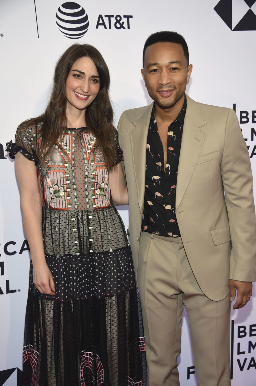 Sara Bareilles, left, and John Legend attend Tribeca Talks with John Legend during the 2018 Tribeca Film Festival at the SVA Theatre on Thursday, April 19, 2018, in New York. (Photo by Evan Agostini/Invision/AP)