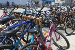 Bicycles are seen parked in Bethany Beach