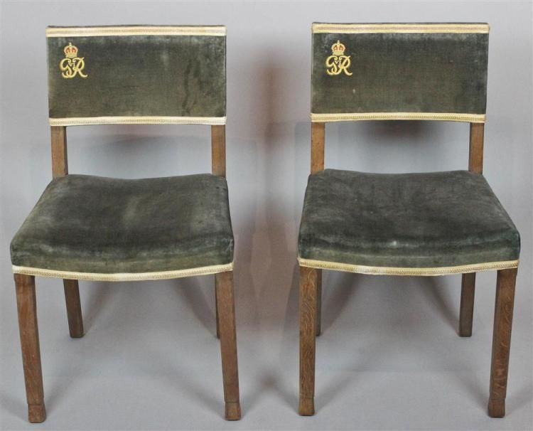 Chairs from the coronation ceremony at Wesminster Abbey for George VI (Courtesy The Potomack Company)
