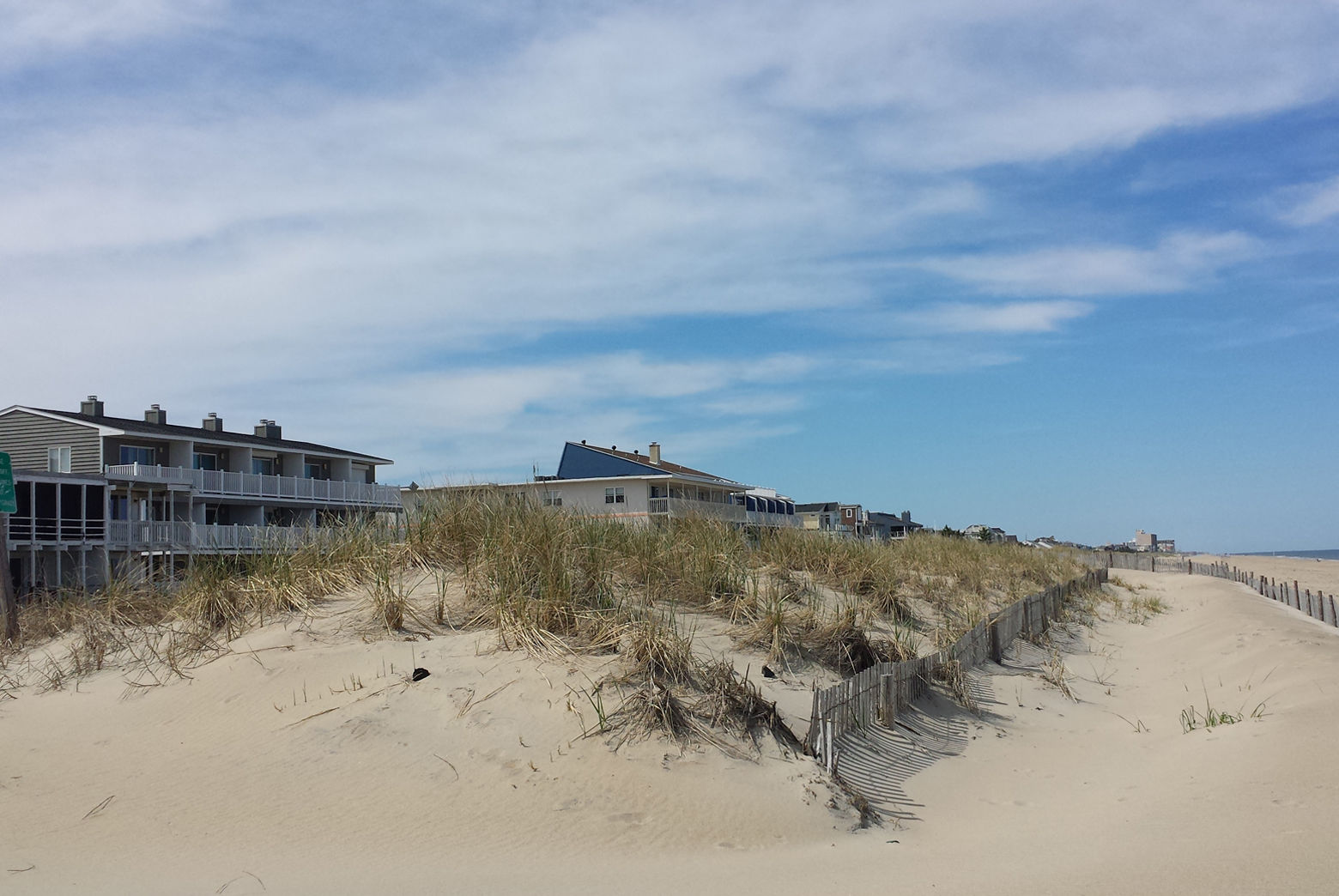 A dune protects oceanfront homes in Dewey Beach, Delaware