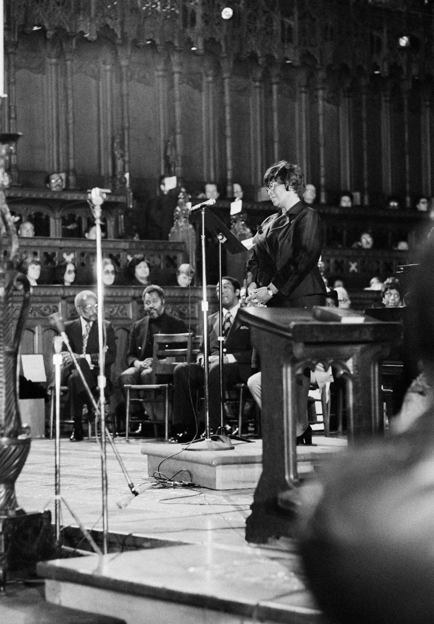 Jazz singer Ella Fitzgerald sings at the funeral of composer Duke Ellington, May 27, 1974, at the Cathedral of St. John the Divine.  (AP Photo)