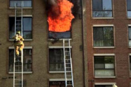 A fire rages on the second floor of a Southeast D.C. apartment building on Friday, May 4, 2018. (Courtesy DC. Fire and EMS)
