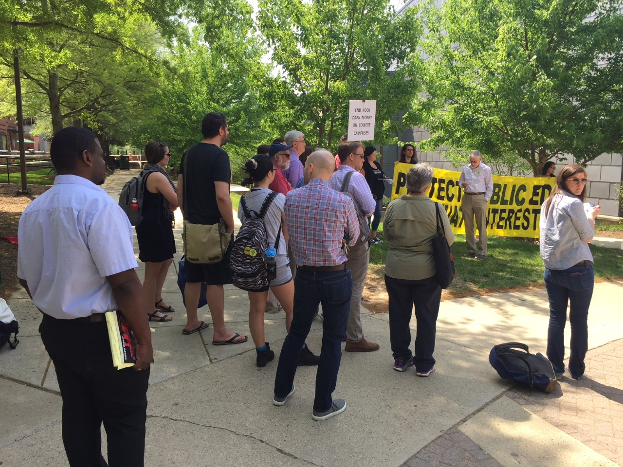 """""""We want all gift agreements to be made public so we can discern the full extent of the academic violations that have been occurring here,"""" said Bethany Letiecq, Faculty senator and president of the GMU chapter of the American Association of University Professors. (WTOP/Kristi King)"""