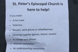 """St. Peter's Episcopal Church is offering flood victims help and could use some volunteers. """"We will need people to work in shifts tomorrow (Wed.) serving food, being available, helping people load their cars with supplies and what they need,"""" said St. Peter's priest-in-charge, Rev. Anjel Scarborough. (WTOP/Kristi King)"""