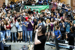 Jack White plays a surprise concert for D.C.'s Woodrow Wilson High School on Wednesday. (David James Swanson)
