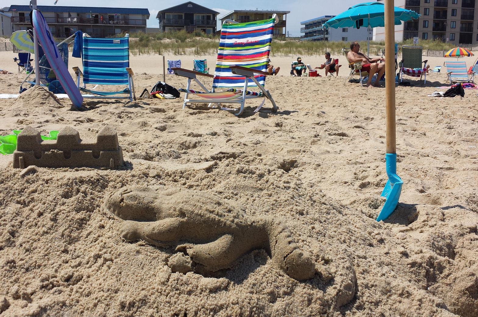 A sandcastle is seen on Ocean City's beach