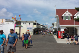 Ocean City's boardwalk is popular for its amusements, shops and bars. (WTOP/Colleen Kelleher)