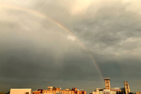 Rainbow graces sky in DC region after storm