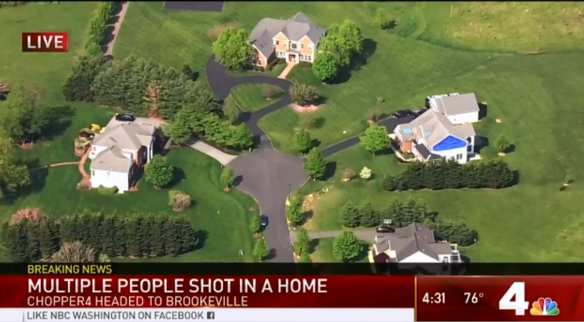 Officers rushed to the22000 block of Brown Farm Way in Brookeville, Maryland, (Courtesy NBC Washington)