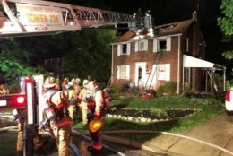 As volunteer firefighters responded to the first house fire, a second fire was dispatched in Takome Park. (Courtesy Takoma Park Volunteer Fire Department)