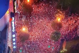 An immense crowd gathers outside  Capital One Arena during Thursday's game on June 7. (NBC Washington)