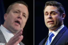 Prince William Board Chairman Corey Stewart (left) narrowly defeated Del. Nick Freitas in the Virginia GOP Senate primary. (AP)