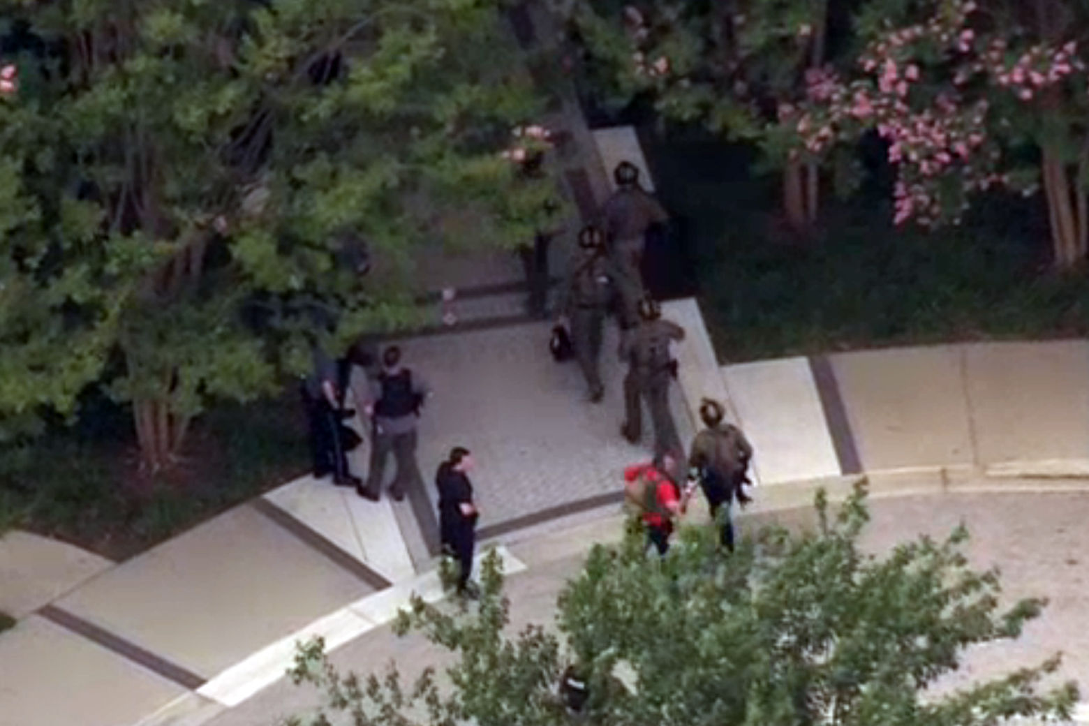 Footage from the NBC Washington news chopper over the scene of a shooting at the Capital Gazette communications building, 888 Bestgate Road, in Annapolis, Md. (NBC Washington)