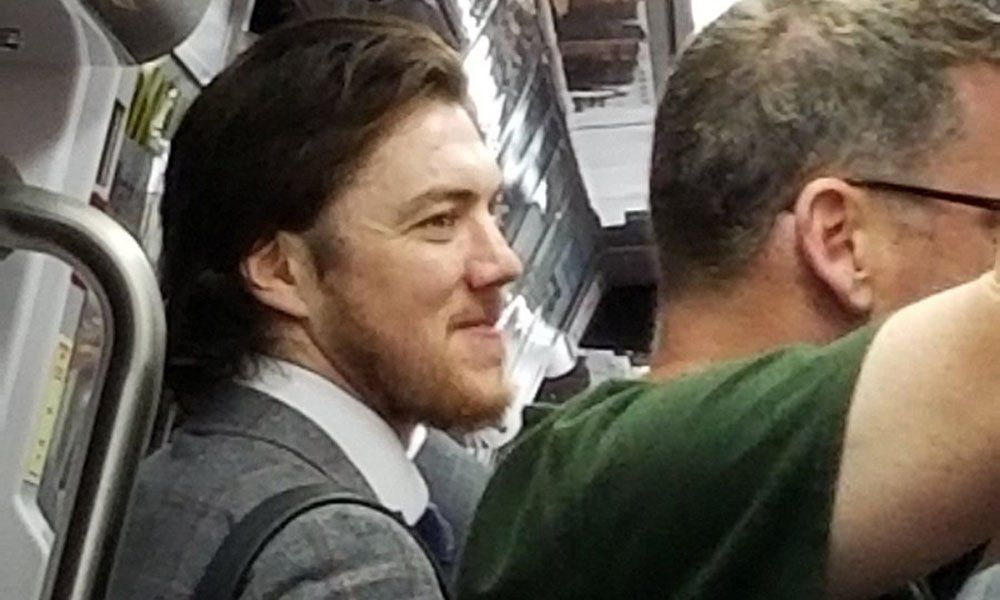In this photo, TJ Oshie smiles while on a metro car headed to the Capital One Arena Saturday June 2. (Courtesy Dana Ziegler)