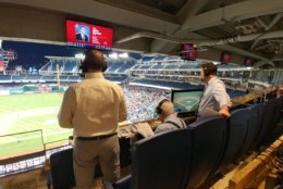 WTOP's George Wallace, Dave McConnell and Noah Frank call the Congressional Baseball Game on Thursday, June 14, 2018. (WFED/Lauren Larson)