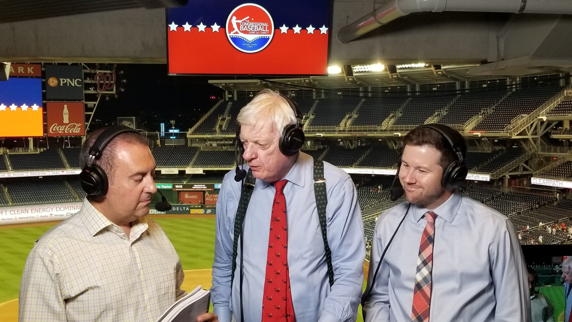 WTOP's George Wallace, Dave McConnell and Noah Frank call the Congressional Baseball Game on Thursday, June 14, 2018. (WTOP/Albert Shimabukuro)