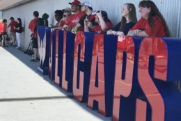 Fans rocked the red on Saturday at Fanfest for a picture with the Stanley Cup and a chance to get a peak at the team's development camp scrimmage at Kettler Capitals Iceplex in Arlington, Virginia. (WTOP/Melissa Howell)