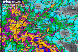 WTOP radar forecasts 1.5 to 2 inches of rain for most communities on the west side of the Washington, D.C. area.