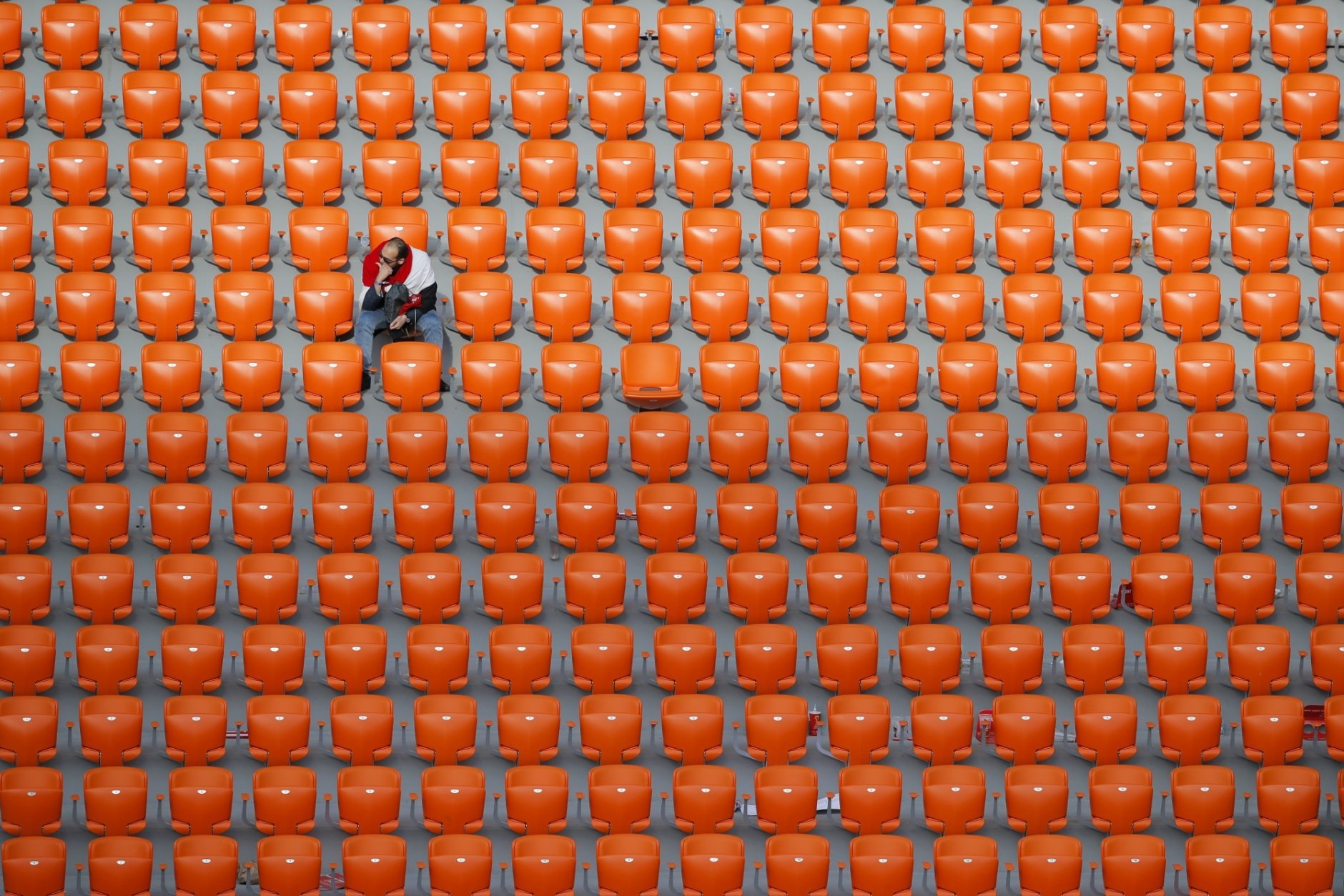 An Egyptian fan seats after the end of the group A match between Egypt and Uruguay at the 2018 soccer World Cup in the Yekaterinburg Arena in Yekaterinburg, Russia, Friday, June 15, 2018. (AP Photo/Vadim Ghirda)