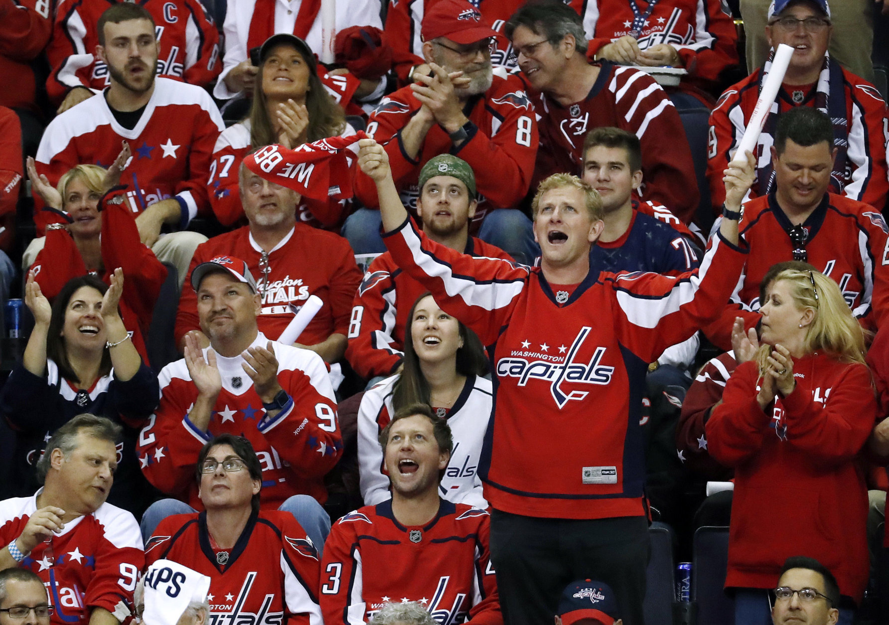 Washington Capitals fans cheer during the second period in Game 4 of the NHL hockey Stanley Cup Final between the Capitals and the Vegas Golden Knights, Monday, June 4, 2018, in Washington. (AP Photo/Pablo Martinez Monsivais)