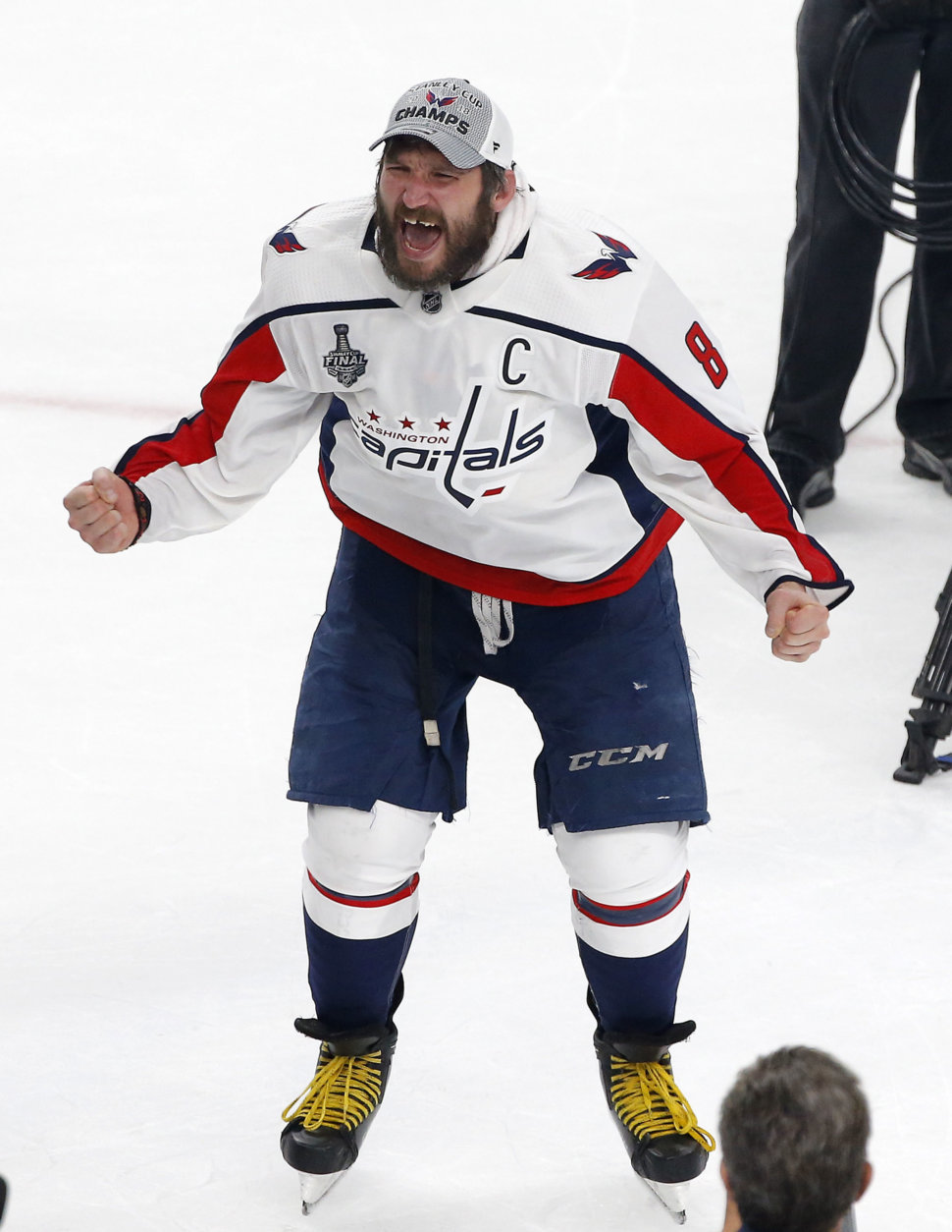 Washington Capitals' Alex Ovechkin celebrates on the ice after the Capitals defeated the Vegas Golden Knights in Game 5 of the NHL hockey Stanley Cup Finals Thursday, June 7, 2018, in Las Vegas. (AP Photo/Ross D. Franklin)