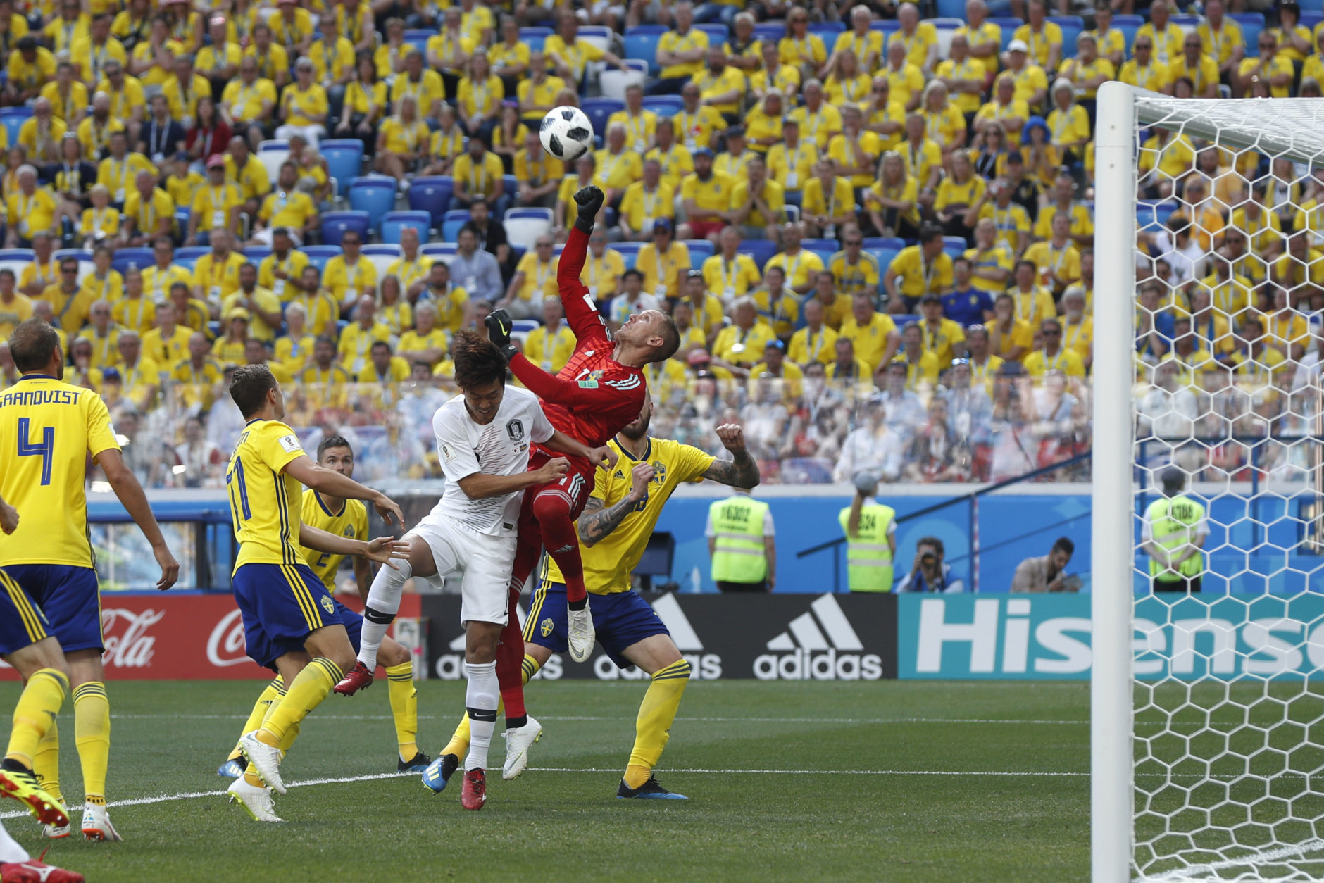 Sweden goalkeeper Robin Olsen makes a save during the group F match between Sweden and South Korea at the 2018 soccer World Cup in the Nizhny Novgorod stadium in Nizhny Novgorod, Russia, Monday, June 18, 2018. (AP Photo/Petr David Josek)