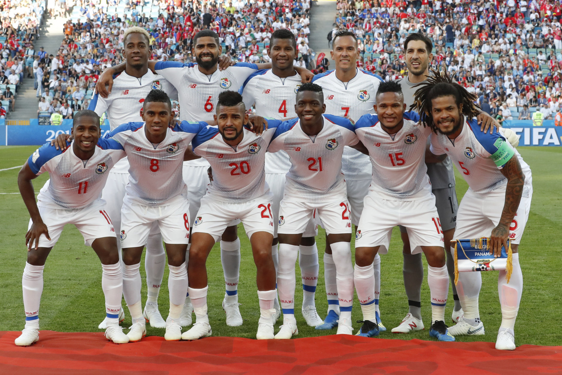 Panama's team poses for a picture prior to the start of the group G match between Belgium and Panama at the 2018 soccer World Cup in the Fisht Stadium in Sochi, Russia, Monday, June 18, 2018. (AP Photo/Antonio Calanni)