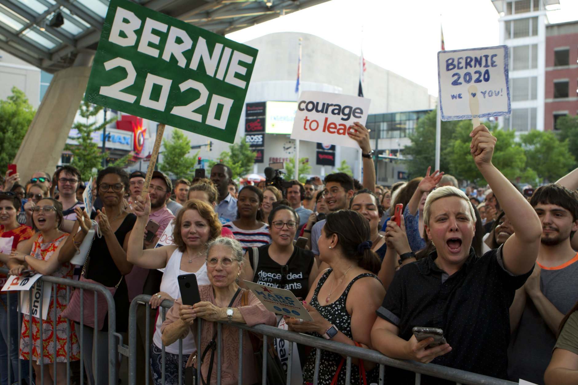 Supporters of Democrat Ben Jealous and Sen. Bernie Sanders, I-Vt. cheer during a gubernatorial campaign rally in Maryland's Democratic primary at downtown Silver Spring, Md., Monday, June 18, 2018. (AP Photo/Jose Luis Magana)