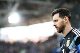 MOSCOW, RUSSIA - JUNE 16:  Lionel Messi of Argentina look on during the 2018 FIFA World Cup Russia group D match between Argentina and Iceland at Spartak Stadium on June 16, 2018 in Moscow, Russia.  (Photo by Ryan Pierse/Getty Images)