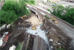 The bridge from which freight cars fell in Alexandria, Virginia, May 19. (Courtesy NTSB)