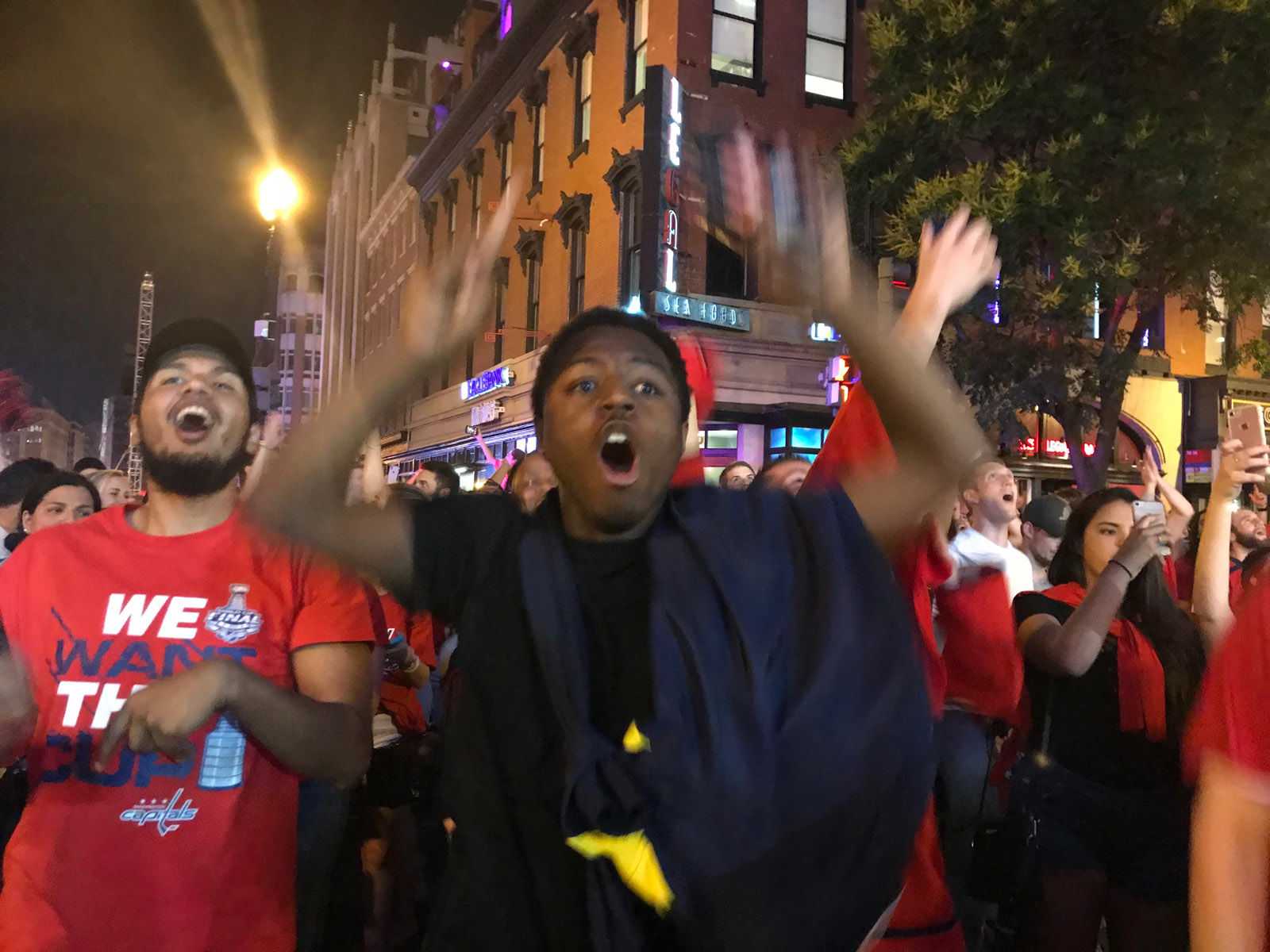 Caps' fans react to the team's big win in Game 3 of the Stanley Cup Final. (WTOP/Dick Uliano)
