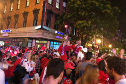 Scenes of joy outside the Capital One Arena after the Caps secured the win in Game 3 and took a 2-1 series lead against the Las Vegas Golden Knights. (WTOP/Dick Uliano)