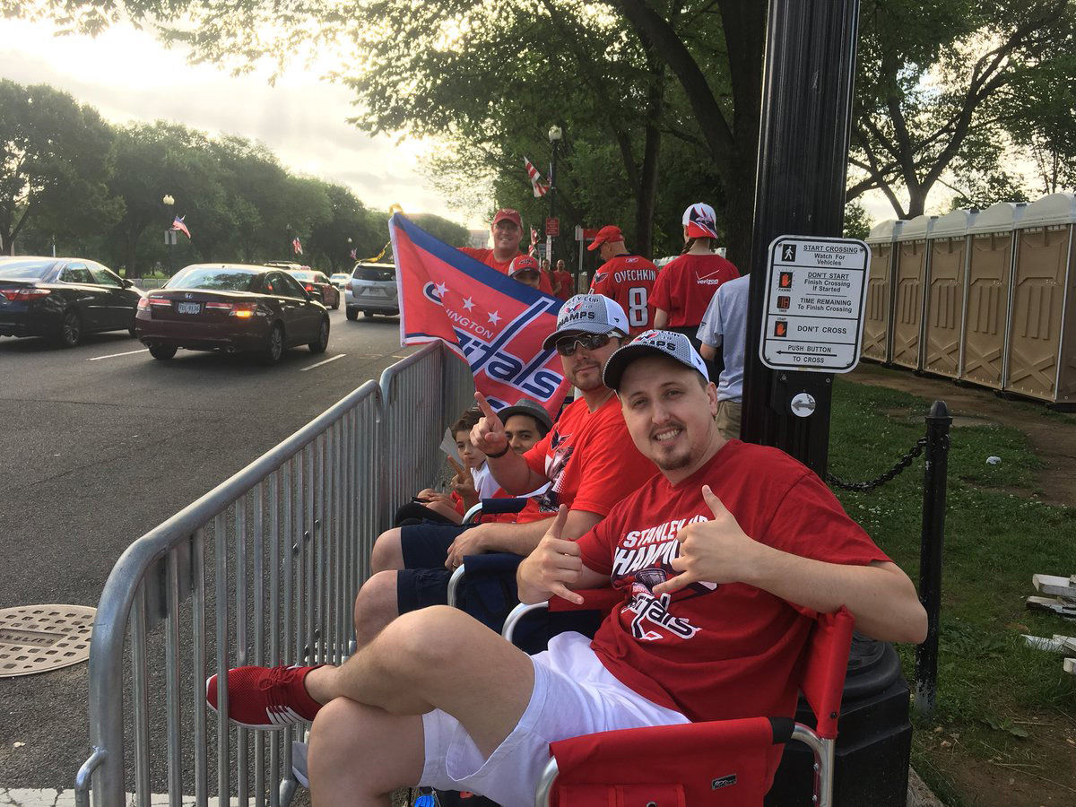 With hours still to go before the parade officially starts, Caps' fans are already lining the parade route along Constitution Avenue. (WTOP/Mike Murillo)