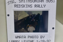Fans heading up one of Metro's escalators on their way to the Redskins victory rally in 1992. D.C. United had a smaller parade after winning an MLS title in 1997, but the last time D.C. saw a championship of the size of the Caps' victory parade was after the Redskins won the Super Bowl in 1992. (Courtesy WMATA via Twitter)